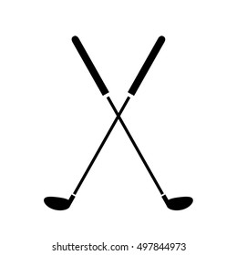 Crossed Golf Clubs Icon. A hand drawn vector illustration of crossed golf clubs.