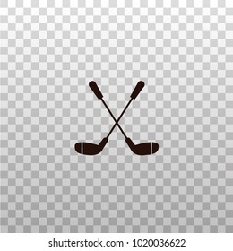 Crossed golf clubs - monochrome silhouette, icon, sign, symbol on isolated transparent background. Golfing equipment vector illustration.
