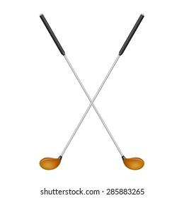 Crossed golf clubs in retro design