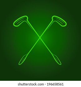 crossed golf putters