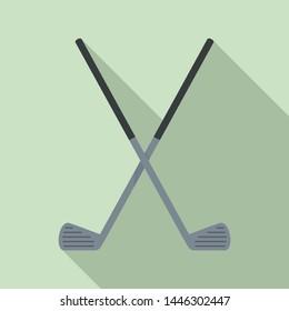 Crossed golf sticks icon. Flat illustration of crossed golf sticks vector icon for web design