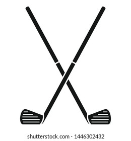 Crossed golf sticks icon. Simple illustration of crossed golf sticks vector icon for web design isolated on white background