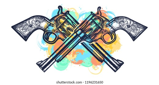 Crossed guns tattoo and t-shirt design. Wild west weapon watercolor splashes style. Crossed vintage revolvers handgun six shooter pistols