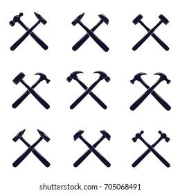 Crossed Hammer Icon Set
