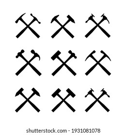 Crossed hammer icons logo vector set. Hammer icon collection design template
