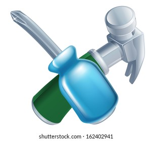 Crossed hammer and screwdriver tools icon of cartoon tools crossed, construction or DIY or service concept