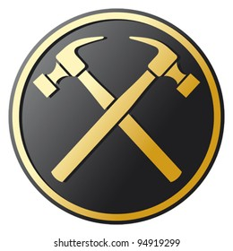 crossed hammers symbol (emblem, button)