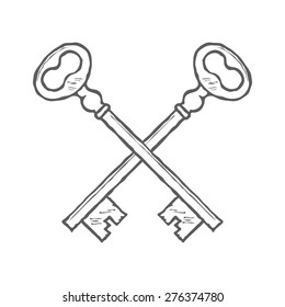 Crossed hand drawn keys design element vector illustration