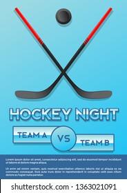 crossed hockey stick and puck ice hockey night macy poster style versus iluustration