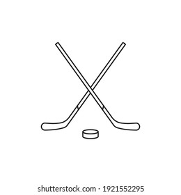 Crossed hockey sticks and puck icon. Vector. Line style.