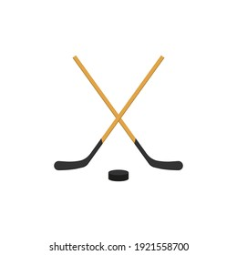 Crossed hockey sticks and puck icon. Vector illustration.