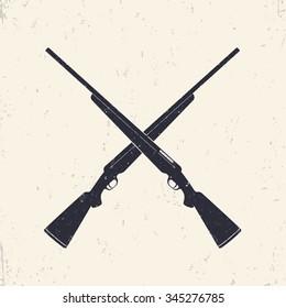 Crossed hunting rifles, vector illustration