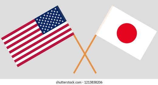 The crossed Japan and USA flags. Official colors. Vector illustration