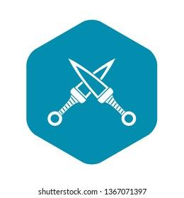 Crossed japanese daggers icon. Simple illustration of crossed japanese daggers vector icon for web