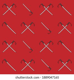 Crossed japanese swords pattern, katana, isolated on red background, vector illustration
