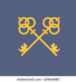 Crossed keys flat icon vector illustration