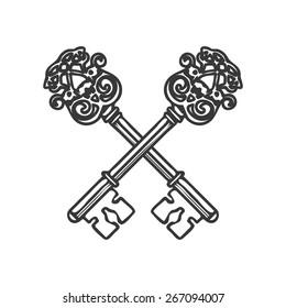 Crossed Keys isolated on white background vector illustration