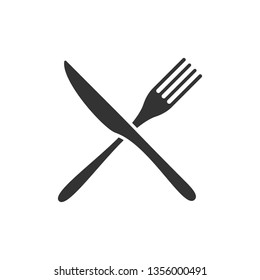 Crossed knife and fork black icons isolated on white background. Vector illustration