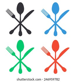 crossed knife fork and spoon icon - colored vector illustration