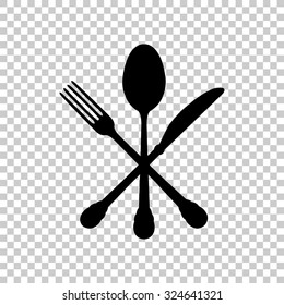 crossed knife fork and spoon vector icon - black illustration