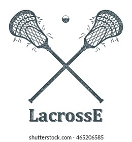 Crossed lacrosse stick and ball with grunge texture on white background. Objects Sports club symbol. Sign lacrosse competition. Stock vector illustration