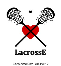 Crossed lacrosse stick, ball and heart. Vector illustration