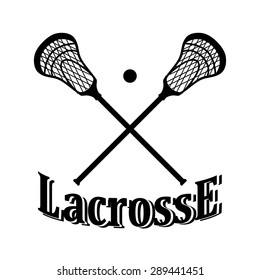 Crossed lacrosse stick and ball. Vector illustration