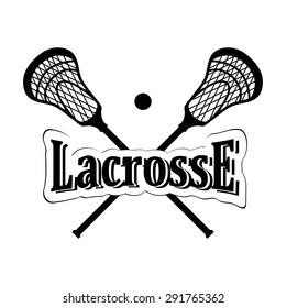 Crossed lacrosse stick. Vector illustration