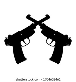 Crossed Luger Pistols P08 Parabellum World War II  - Vector Illustration Black Silhouette.