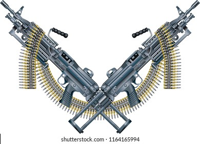 crossed machine guns and ammunition belt