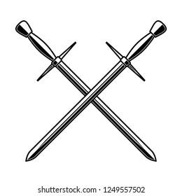 Crossed medieval swords on white background. Design element for logo, label, emblem, sign, poster, t shirt. Vector illustration