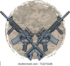 crossed military assault rifles over camouflage pattern background