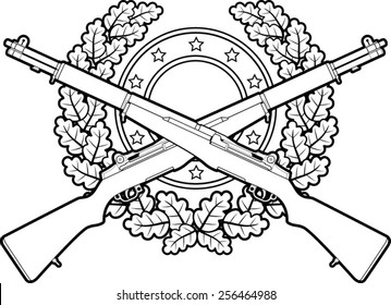 crossed military rifles with oak leaves