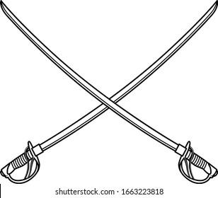 Crossed Military Swords in Vector
