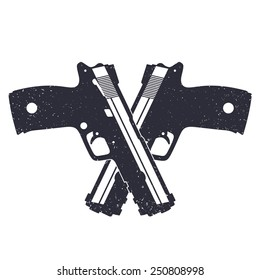 crossed modern pistols with grunge texture pistols vector illustration, eps10, easy to edit