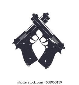 crossed modern pistols, vector semiautomatic guns on white