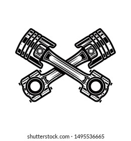 Crossed motorcycle pistons. Design element for poster, flyer, card, banner. Vector illustration