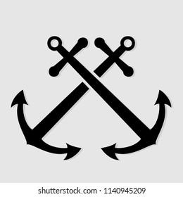 Crossed nautical anchors. Vector illustration.