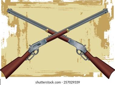 crossed old western guns over background