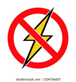 Crossed out lightning symbol, no electricity, electrical devices forbidden, vector illustration