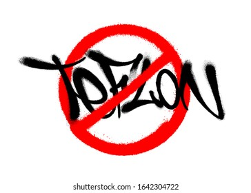 Crossed out teflon drawn by spray. Vector illustration