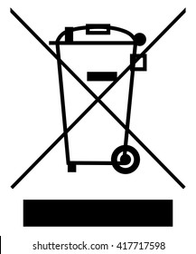 The Crossed Out Wheelie Bin with Bar Symbol , Waste Electrical and Electronic Equipment recycling sign , vector illustration