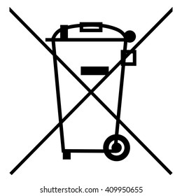 The Crossed Out Wheelie Bin Symbol , Waste Electrical and Electronic Equipment  recycling sign , vector illustration