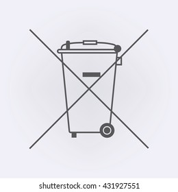 The Crossed Out Wheelie Bin Symbol , Waste Electrical and Electronic Equipment recycling sign . Vector illustration