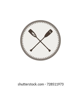crossed paddles icon patch and sticker. Vintage hand drawn outdoor adventure design. Canoe and kayak symbol. Camping icon. Stock vector isolated on white background.