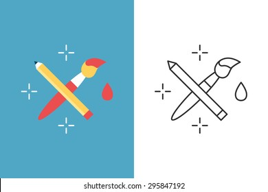 Crossed pencil with paint brush flat and line style vector icon