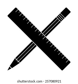 Crossed pencil and ruler vector icon - black illustration