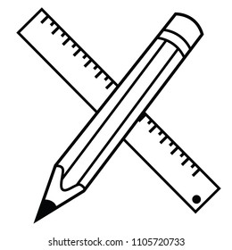 crossed pencil and ruller cartoon illustration isolated on white