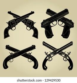 Crossed Pistols Evolution Silhouettes