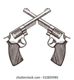 Crossed Pistols Hand Draw Sketch Revolver Gun Duel. Vector illustration of two Cross Vintage Handguns gangster background. Old style metal colt revolver for shooter, western
